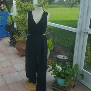 ZARA NEW V Neck Black Jumpsuit